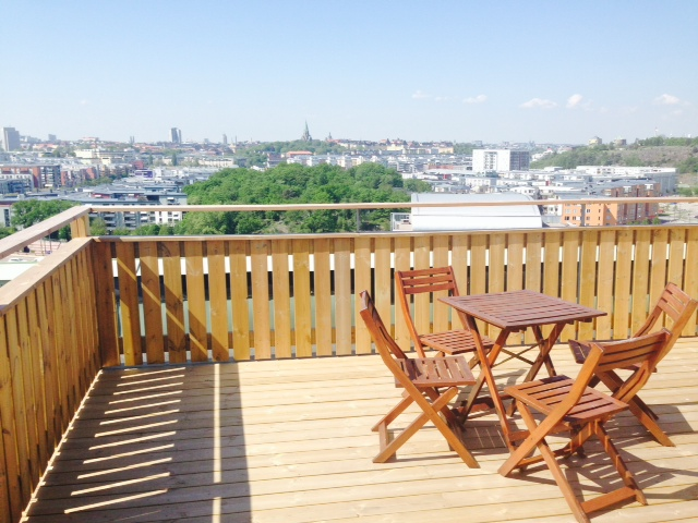 Communal roof terrace with west-facing panoramic views over Södermalm (where the sun sets)